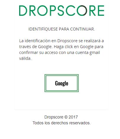 Pantalla de inicio en el registro de Dropscore