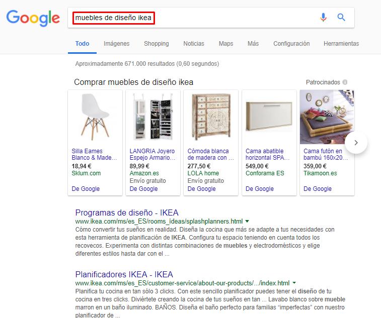 imagen de google donde se ve la búsqueda de una palabra clave