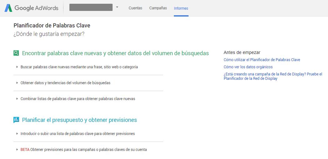 Imagen de la interfaz del planificador de palabras clave de Google