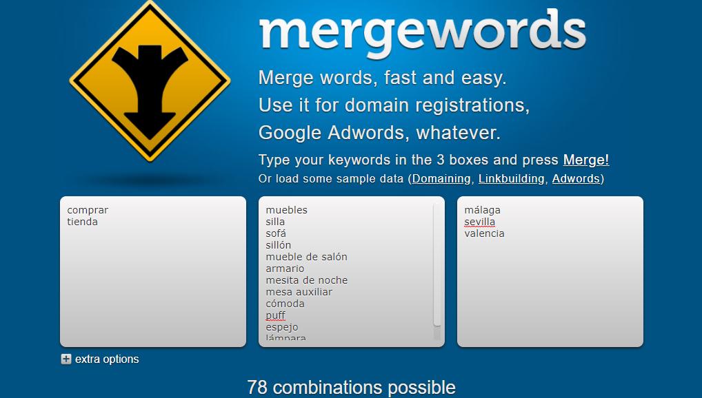Herramienta Merge Words para combinaciones de palabras